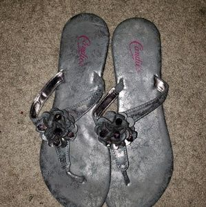 Silver fancy flip flops